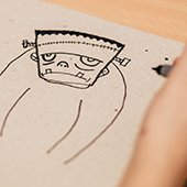 child's sketch of frankenstein's monster