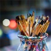 jar of paintbrushes