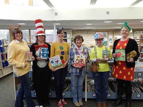 Wildwood Library staff in Halloween costumes