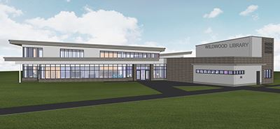Rendering of proposed design for Wildwood Library
