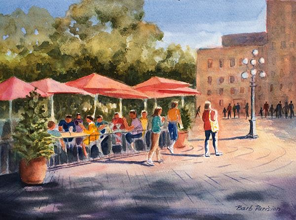 watercolor painting of people at a farmer's market