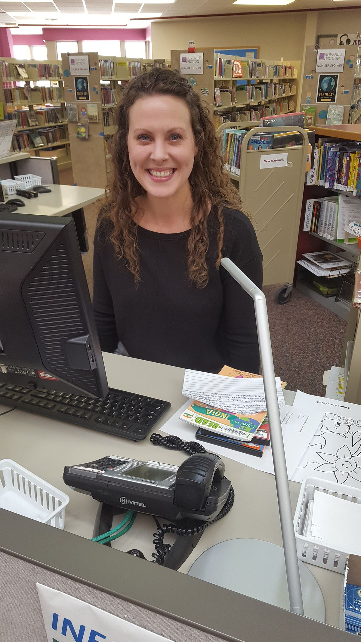 Kristin Jones at the Park Grove Library Information Desk