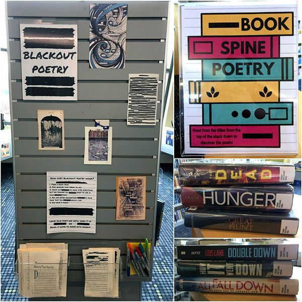 Hardwood creek library collage of poetry display images