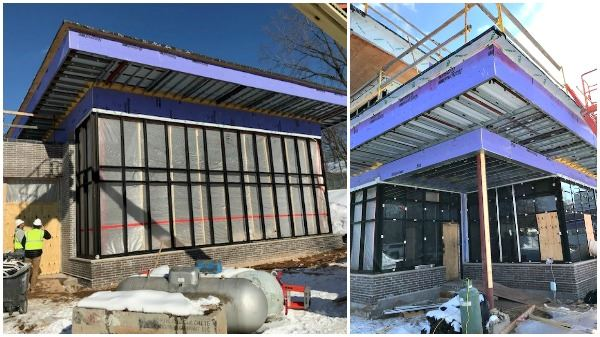 collage of outside window construction at wildwood library